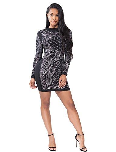 VWIWV Women's Long Sleeve Sexy Rhinestone Embellished Bodycon Slim Fit Club Mini Dresses