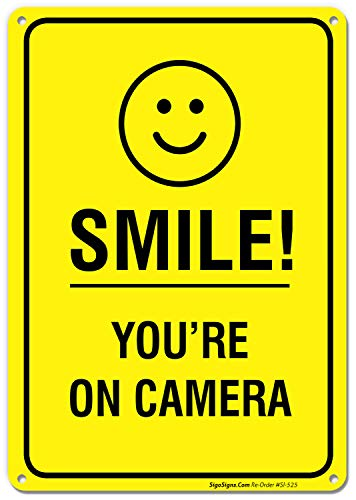 Smile Youre on Camera Video Surveillance Sign 10 X 14 Rust Free Aluminum