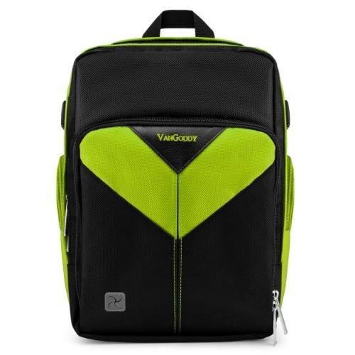 VanGoddy Sparta Travel Backpack for Olympus 1s / SP-100 / 1 / SP-810 UZ / SP-590 UZ SLR-Like Digital Cameras + Mini Tripod + Screen Protector Black & Green
