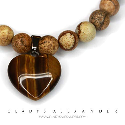 (Gladys Alexander 'Amadeo' Picture Jasper with Tiger's Eye Heart Crystal Pendant Stone )