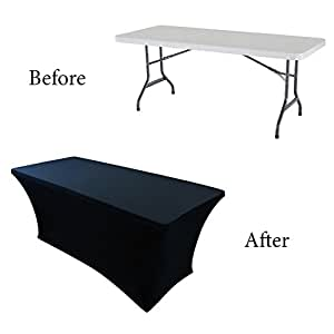 Amazon Com Houseables Fitted Tablecloth Cover 6 Ft Black