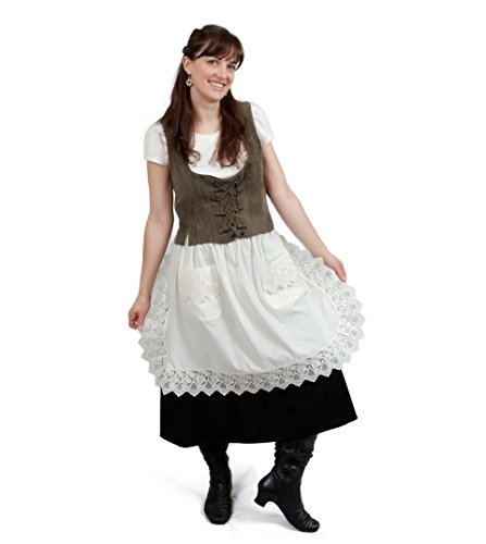 Maid Kitchen Costume Victorian (Ecru (Off-white/beige) Lace Deluxe Victorian Maid Costume Ladies Half Apron)
