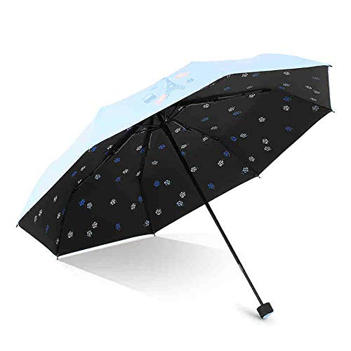 Folding Umbrella, Travel Sunscreen Telescopic Umbrella, Lightweight and Portable 8 Bone Steel Ribs for Ladies,Blue