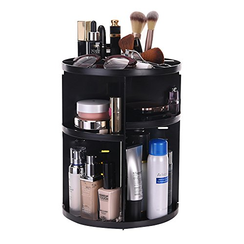 ATPWONZ maquillage Organiseur bac 360 degrés renouvelable stockage boîte cosmétique multifonctionnel 8 couches de maquillage et d'accessoires (noir)