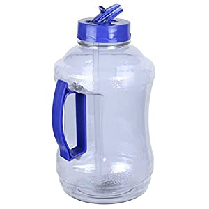 Go Green Sport 57 oz - 1.68 Liter Water Bottle Jug with Handle and Flip Sip and Straw (Light Blue)