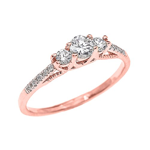 Rose Gold 14k Diamond Ring - Dainty 14k Rose Gold Three Stone Diamond Engagement Proposal Ring (Size 11)
