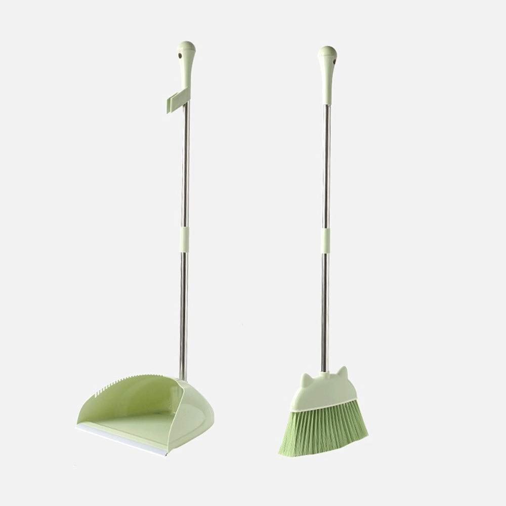 Stainless Steel Soft Brush Broom Set Extra Long Handle Non-Slip Handle Windproof Broom And Dustpan Used For Room Schools Garden (Color : Green) by HUABEI
