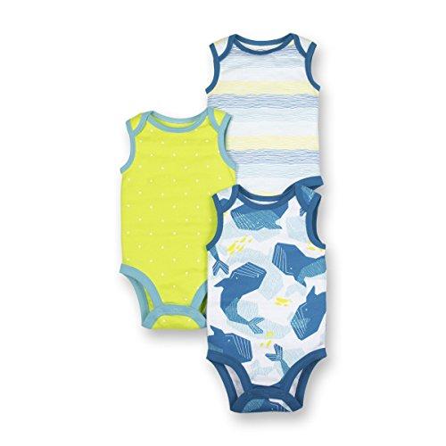 - LAMAZE Organic Baby Baby Boys Organic 3 Pack Sleeveless Bodysuits, Blue, 12M