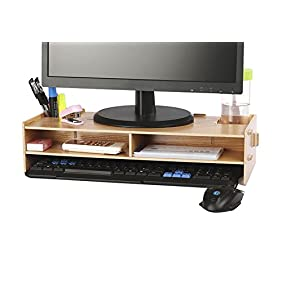 AZLife Desktop Monitor Stand, Wooden Monitor Riser TV Stand, with Slots for Office Supplies and Storage Space for Keyboard and Mouse, Wide Screen Stand Riser for Computer Monitor/Laptop/TV/Printer