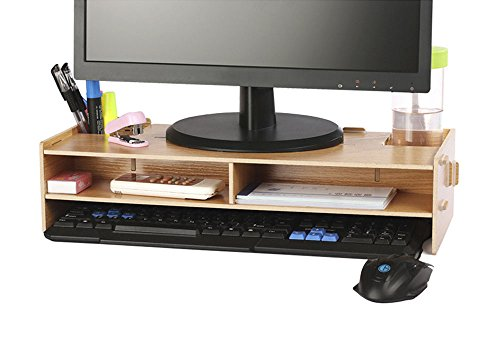 AZLife Desktop Monitor Stand, Wooden Monitor Riser TV Stand, with Slots for (Oak Widescreen Tv)