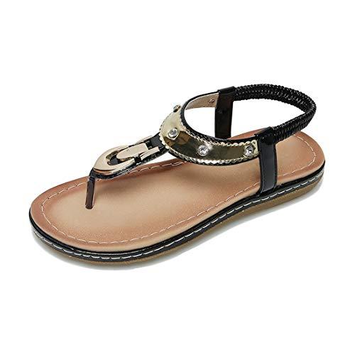 (ZHPUAT Women Rhinestone Flat Sandals Flip Flop Summer Beach Casual T-Strap Shoes Black)