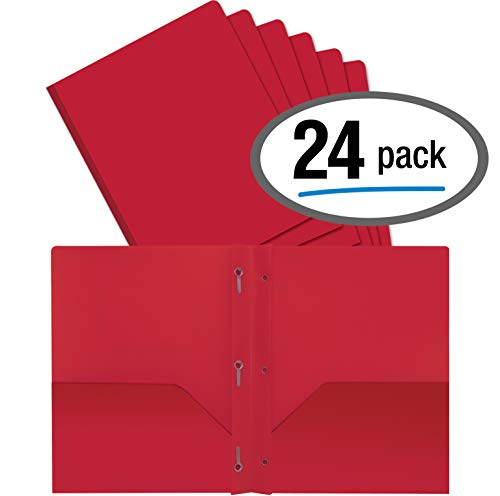 Better Office Products Red Plastic 2 Pocket Folders with Prongs, Heavyweight, Letter Size Poly Folders, 24 Pack, with 3 Metal Prongs Fastener Clips, Red