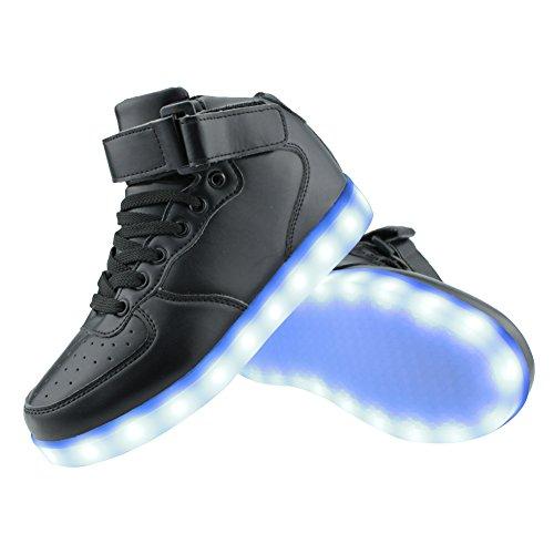 SENFI verbesserte LED-Licht Schuhe High Top Sneaker für Männer / Frauen Schwarz