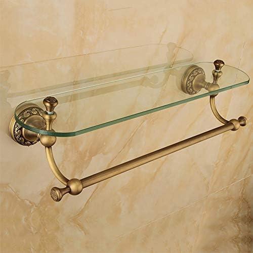 収納ラック棚 浴室用棚1623ヨーロッパレトロ全銅単層ガラスタオルバー浴室用棚 家のホテルの装飾のため