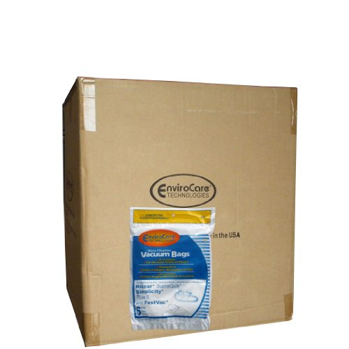 1 Case (50 pkgs) Allergen Bags for Riccar, Simplicity Type S, Eureka W, Fast Vac, GE, Compact Canister Hand Held Vacuum Cleaner #858, replaces Simplicity #SS-6 and Riccar part #RSQ-6, Sport, S100, FV500, FV-500, AC DELCO 550, SQuick Supra Quik, SupraQuik RSQ1 -