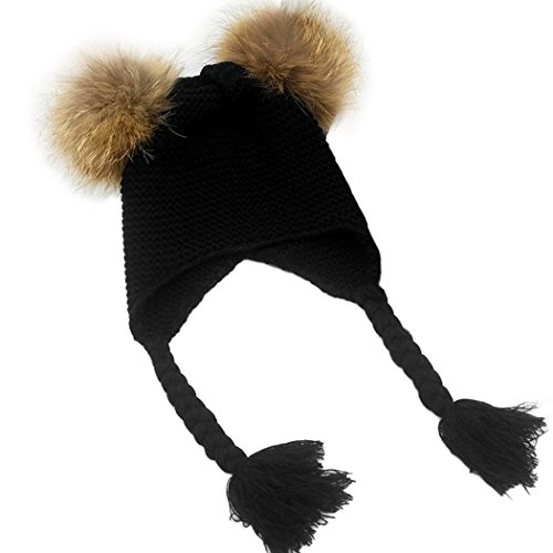 [MIOIM Baby Boys Girls Raccoon Fur Double Pompom Ball Hat Winter Knitted Warm Cap] (Hats & Fascinators Online)