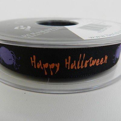 Always Knitting And Sewing 2 X Metres Happy Halloween Black Ribbon - 15mm, Green Writing