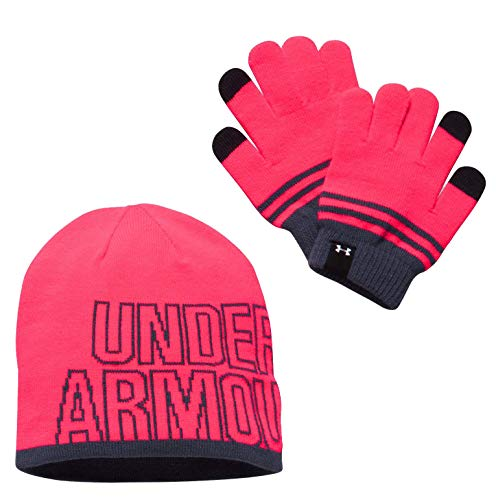 Under Armour Girls' Beanie & Glove Combo Pack, Penta Pink (975)/White, One Size