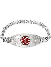 Custom Engraved Lovely Filigree Medical Alert Bracelet -Handmade Byzantine-Red