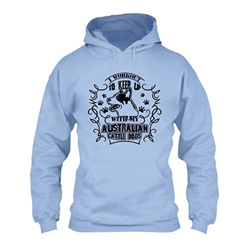 Big Grey Australian Cattle Dog Adult Hoodie Sweatshirt for Men, Women Blue,2XL ()