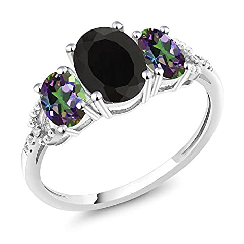 10K White Gold Diamond Accent Three-Stone Engagement Ring set with 2.30Ct Oval Black Onyx Green Mystic - Set Oval Onyx Ring