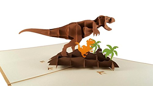 iGifts And Cards Funny Dinosaurs 3D Pop Up Greeting Card - Huge, T-Rex, Scary, Jurassic World, Wildlife, Half-Fold, Just Because, Thinking of You, Friendship, Retirement, Kids, All Occasion, Gift, BFF for $<!--$11.95-->