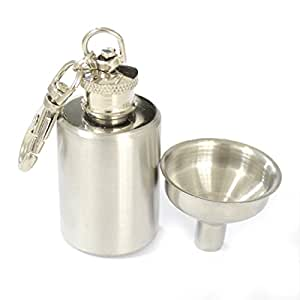 YINO Portable Round 1oz Mini Stainless Steel Hip Flask Alcohol Flagon with Keychain Free Funnel
