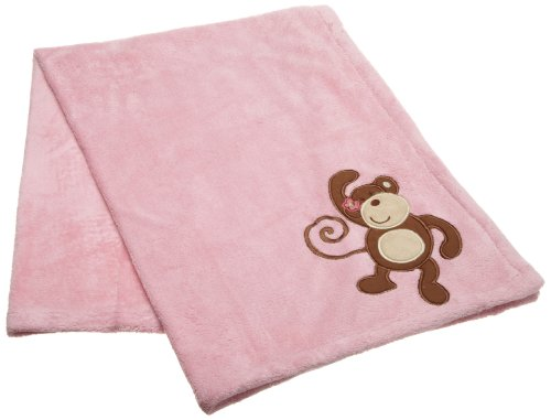 CoCo and Company Melanie The Monkey Appliqued Sherpa Blanket, Baby & Kids Zone