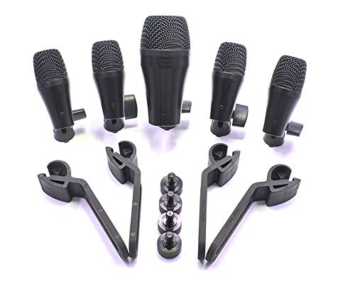 5 mics set snare tom floor bass kick drum percussion dynamic pickup microphone