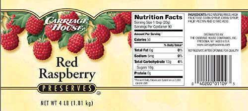Carriage House Red Raspberry Preserves, 4 Pound -- 6 per case. ()