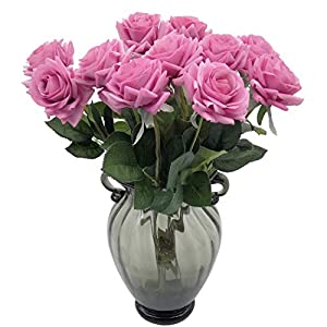 cn-Knight Artificial Flower 12pcs 17'' Artificial Rose Blossom with Leaves Gel Coated Silk Flower for Wedding Bridal Bouquet Bridesmaid Home Décor Office Baby Shower Centerpiece,Purple 31