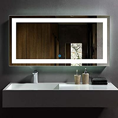 DP Home LED Lighted Rectangle Bathroom Mirror, Large Modern Wall Mirror with Lights, Wall Mounted Makeup Vanity Mirror Over Cosmetic Bathroom Sink 48 x 24 in E-CK010-E - Modern bathroom LED illuminated vanity mirror, With the super-sensitive Touch Button you can turn on/off the light Ideal for make up and hair, this piece is a necessity for those who strive for perfection and unparalleled beauty in their personal appearance 3rd generation eco-friendly silver mirror, copper free, anti-rust, 35% more clarity over the conventional mirrors - bathroom-mirrors, bathroom-accessories, bathroom - 41zHolFqTbL. SS400  -