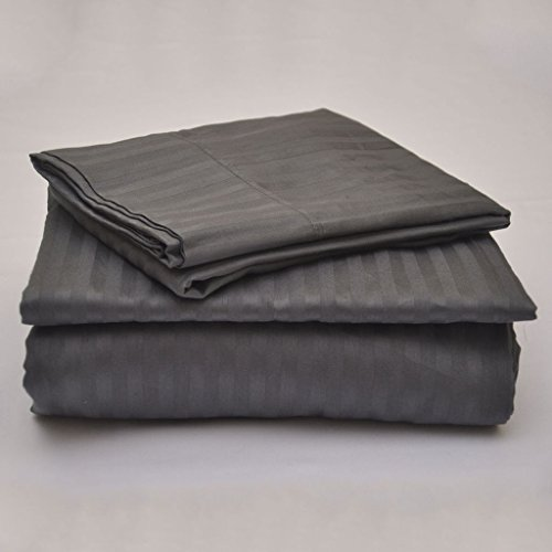 Rajlinen Luxury Egyptian Cotton 650-Thread-Count Sateen Finish Fitted Sheet & Pillow case King Size Pocket Depth (+12 Inch) Dark Grey Stripe (Thread 650 Sateen)