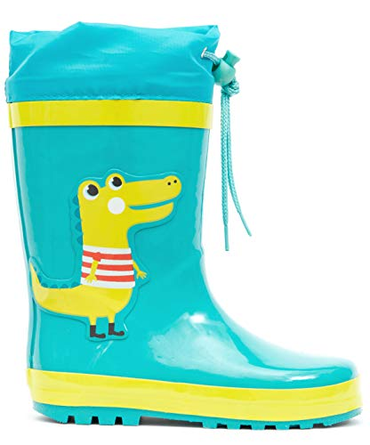 MOFEVER Toddler Boys Kids Rain Boots Waterproof Shoes Printed Lovely Green Crocodile Dinosaur Animal Pattern Pads Cute with Easy Drawstring (Size 5,Green)