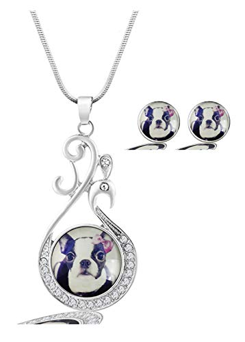 Terrier Jewelry - MaXing Image Custom Fashion Goose Glass Crystal Necklace Pendant with 2pcs Earing Studs Jewelry Set Unique Gift (Boston Terrier Love)