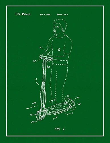 Hoverboard Goped Electric Scooter Patent Print Green with Border (8