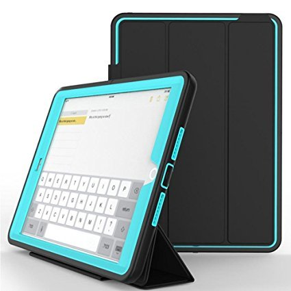 iPad Air 2 Case, CaseUp Smart Hybrid EX - [Auto Sleep Wake][Shockproof][Heavy Duty] Built-in Screen Protector Smart Case Cover With Stand For iPad Air 2, Turquoise Csu Air