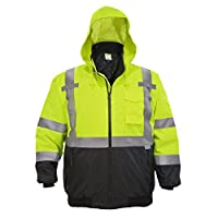 JORESTECH Safety Bomber Jacket Waterproof Reflective High Visibility with Detachable Hood Orange ANSI Class 3 Level 2… 4