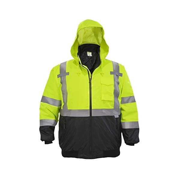 JORESTECH Safety Bomber Jacket Waterproof Reflective High Visibility with Detachable Hood Orange ANSI Class 3 Level 2… 1