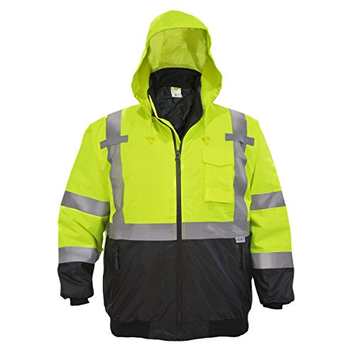 JORESTECH Safety Bomber Jacket Waterproof Reflective High Visibility with Detachable Hood Orange ANSI Class 3 Level 2 Type R JK-01 (XS) 1
