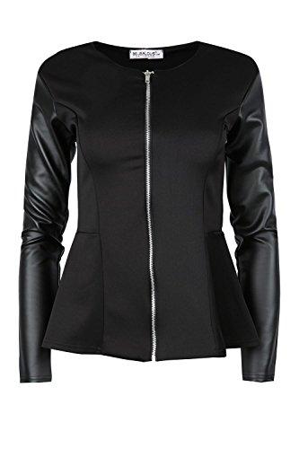 Be Jealous Womens Ladies PVC Wetlook Sleeve Frill Zip Peplum Tailored Blazer Jacket Coat Black