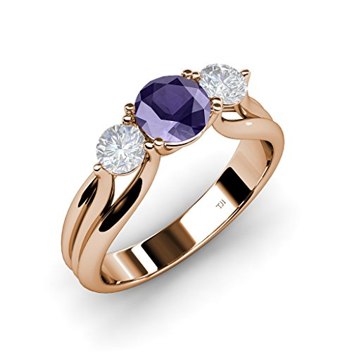 Iolite and White Sapphire Three Stone Ring with Thick Shank 1.36 ct tw in 14K Rose Gold.size 9.0 ()