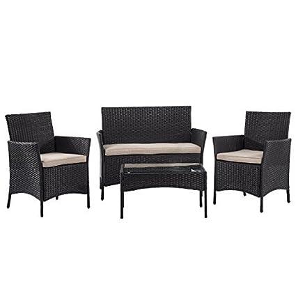 Amazon.com: BMS - Juego de sofá de mimbre seccional para ...