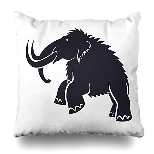 Ahawoso Throw Pillow Cover Prehistoric Ancient Black Mammoths On White Age Nature Archeology Big Bone Design Trunk Decorative Pillow Case Home Decor Square Size 18x18 Inches Pillowcase ()