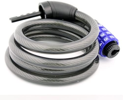 Topzone 72 inch Extra Long Heavy Duty 12mm Cable Self Coiling Keyed Bicycle Bike Lock with Mount