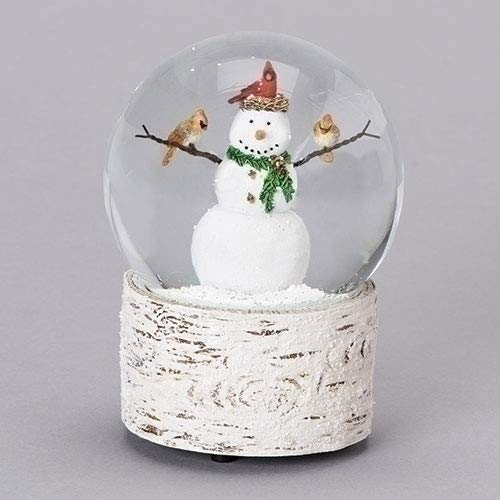 - Snowman with Cardinal Friends 6 Inch Resin Musical Snowglobe Plays Holly Jolly Christmas