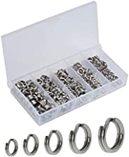 Facikono 250pcs Fishing Split Rings Assortment Kit, Stainless Steel Double Flat Wire Snap Ring Lure Tackle Con