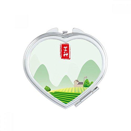 Circlar Grain In Ear Twenty Four Solar Term Heart Compact Makeup Mirror Portable Cute Hand Pocket Mirrors Gift by DIYthinker