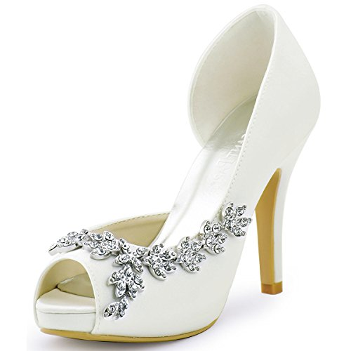 ElegantPark HP1560IAC Women's Peep Toe Platform High Heel Rhinestones Satin Wedding Party Dress Shoes Ivory US 7