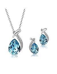 "T400 Jewelers ""Sleeping Beauty"" Swarovski Elements Crystal Waterdrop Pendant Necklace & Earrings Fashion Jewelry Sets Love Gift"